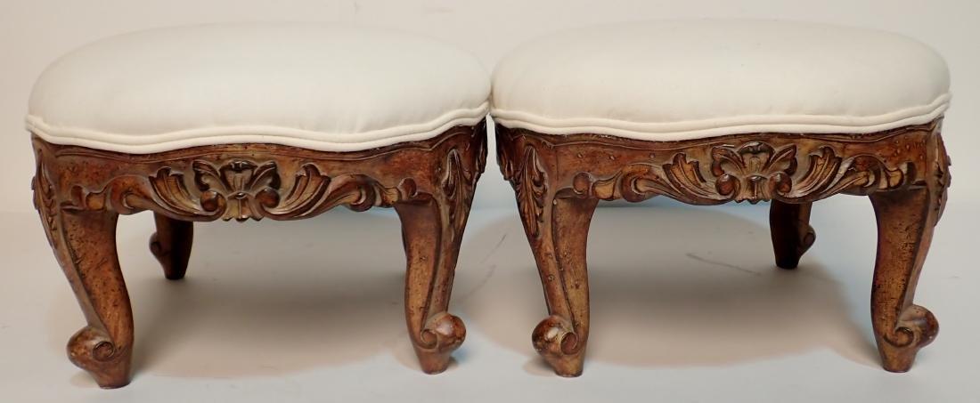 Pair of Upholstered Muslin Foot Stools - 5
