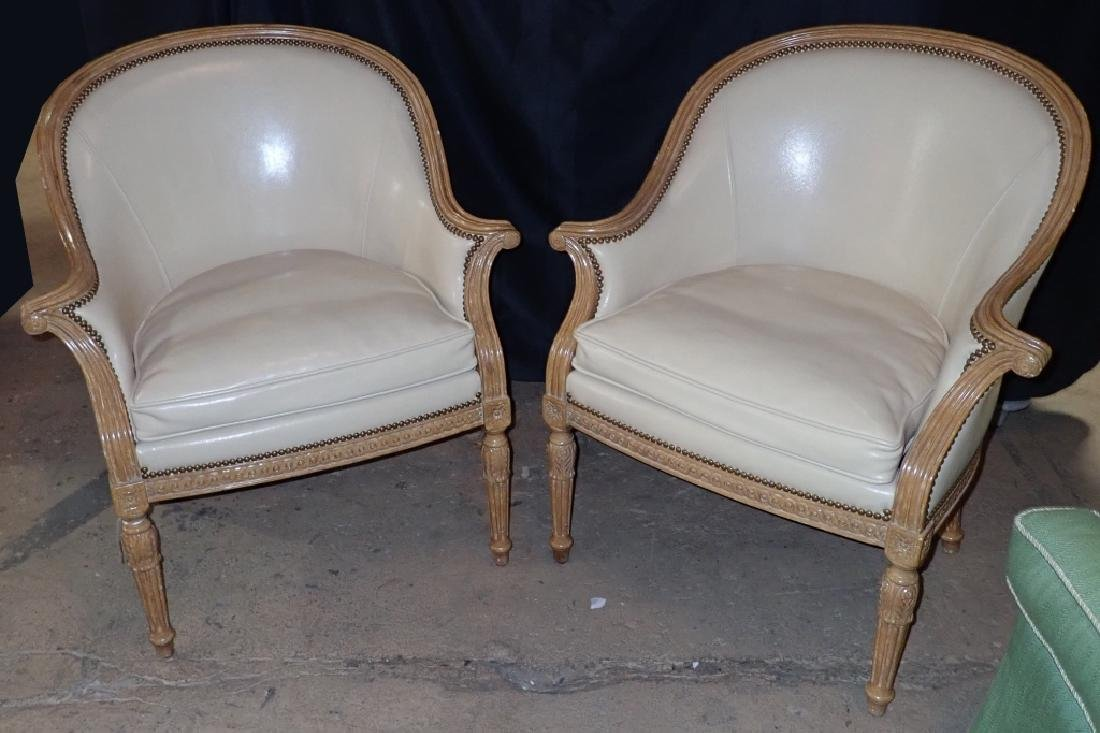 Pair of Carved Wood Frame Leather Accent Chairs