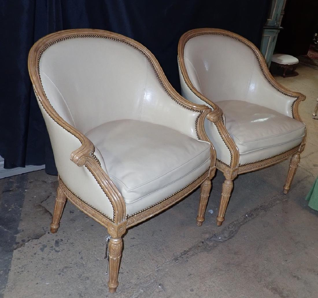 Pair of Carved Wood Frame Leather Accent Chairs - 2