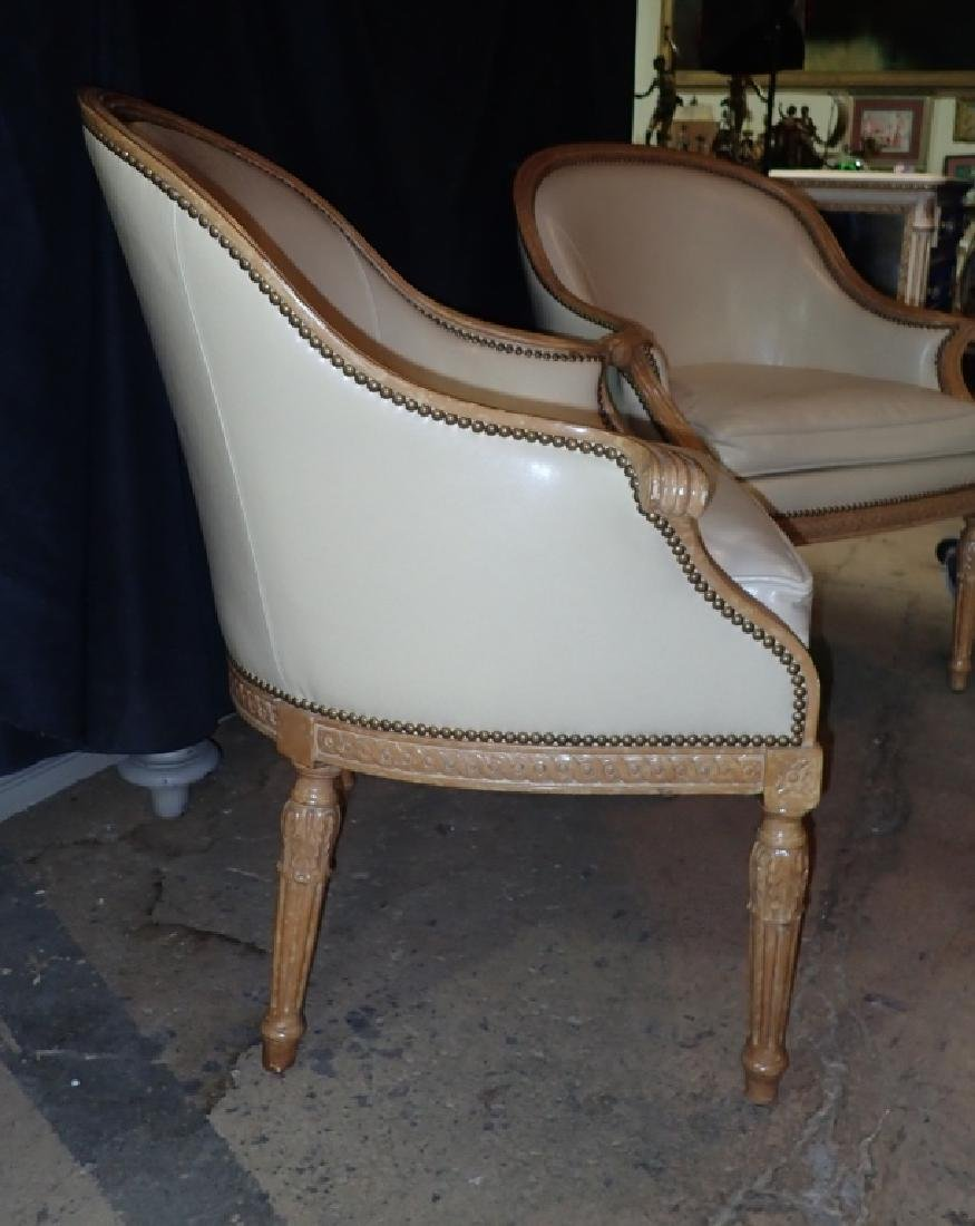 Pair of Carved Wood Frame Leather Accent Chairs - 3
