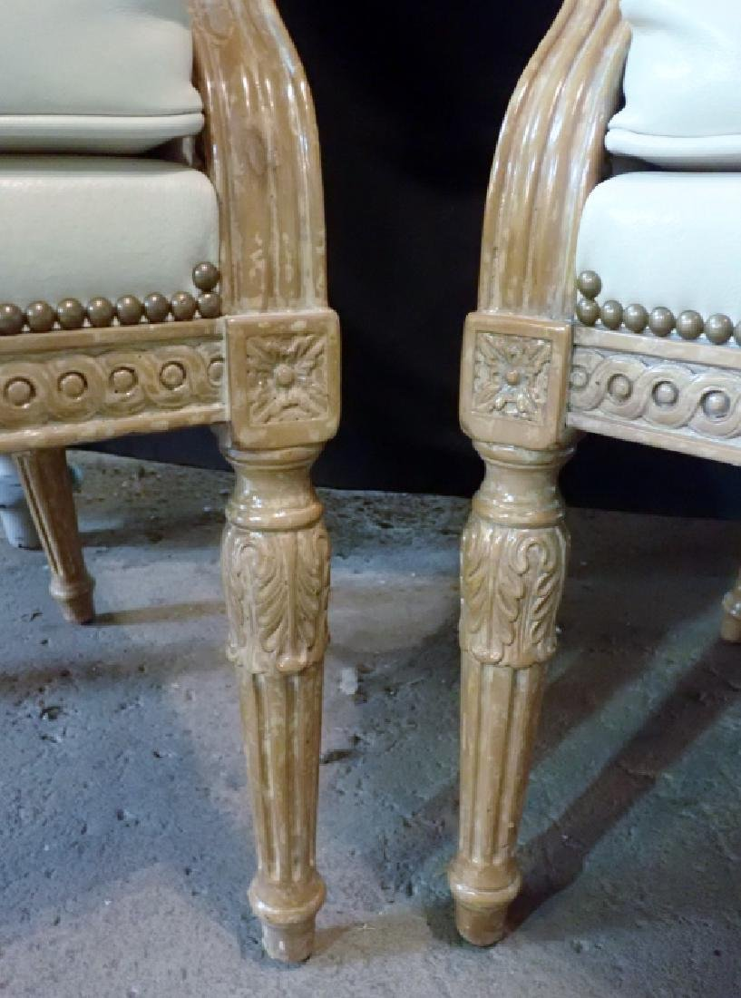 Pair of Carved Wood Frame Leather Accent Chairs - 5
