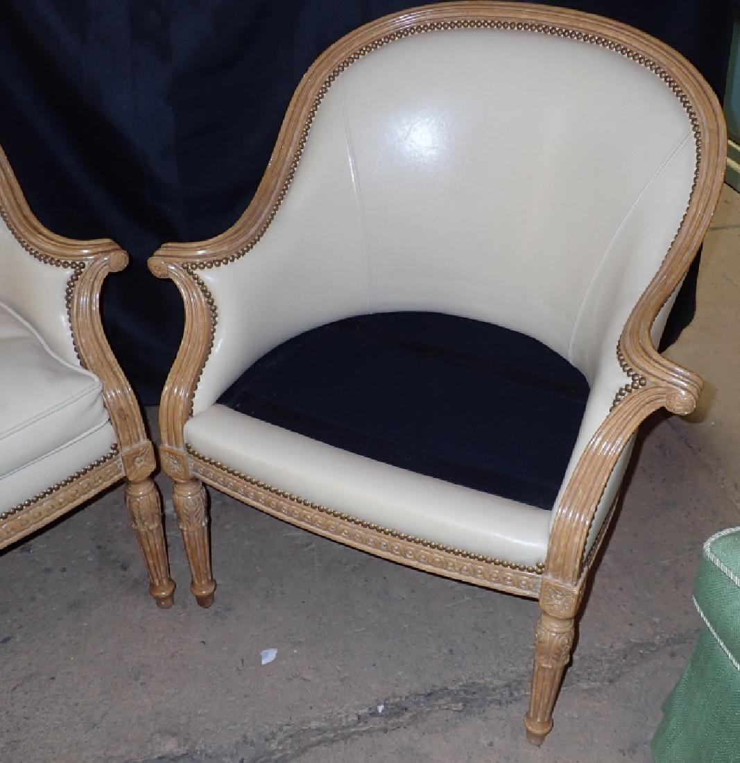 Pair of Carved Wood Frame Leather Accent Chairs - 6