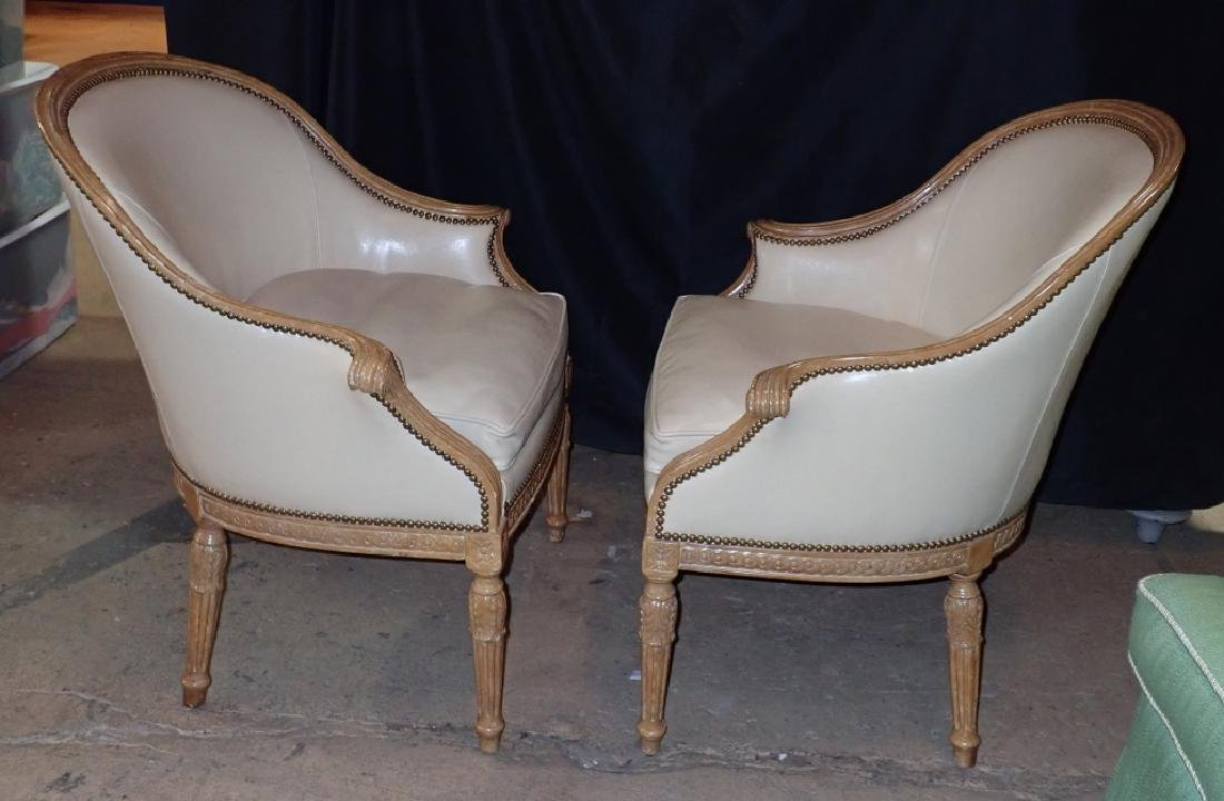 Pair of Carved Wood Frame Leather Accent Chairs - 8