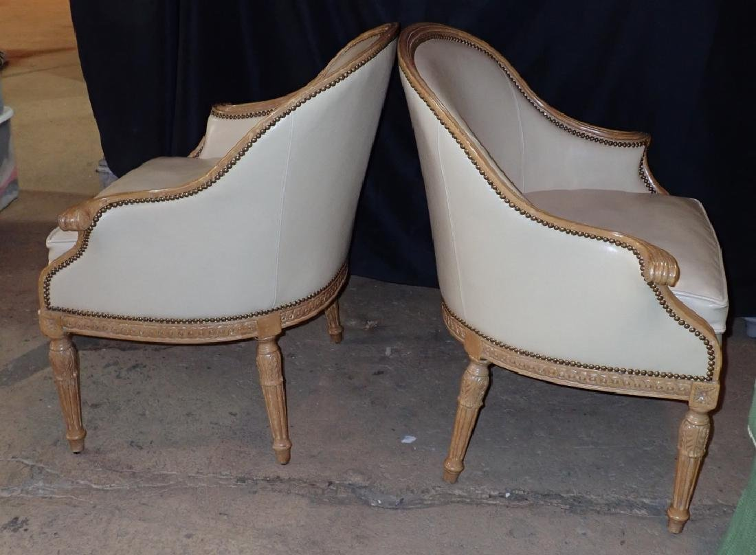 Pair of Carved Wood Frame Leather Accent Chairs - 9