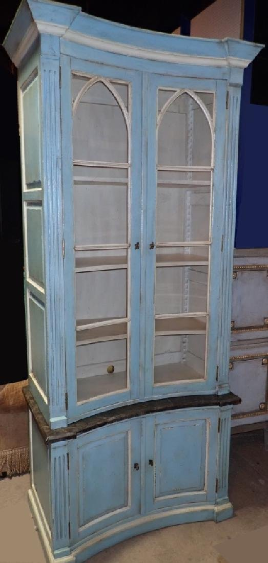 Continental Painted Curved Bibliotheque - 2