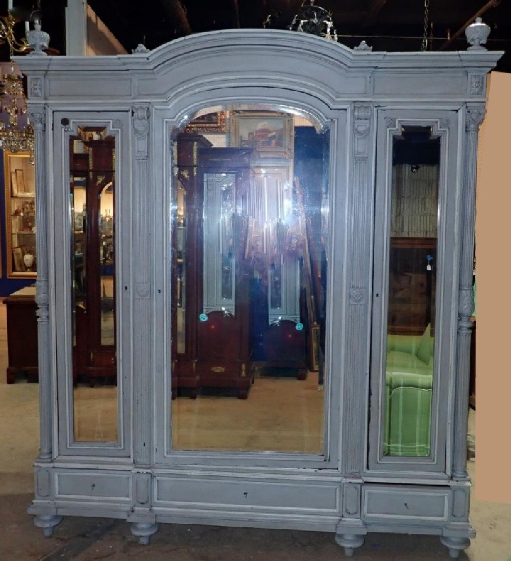 Louis XVI Style Three-Door Painted Armoire