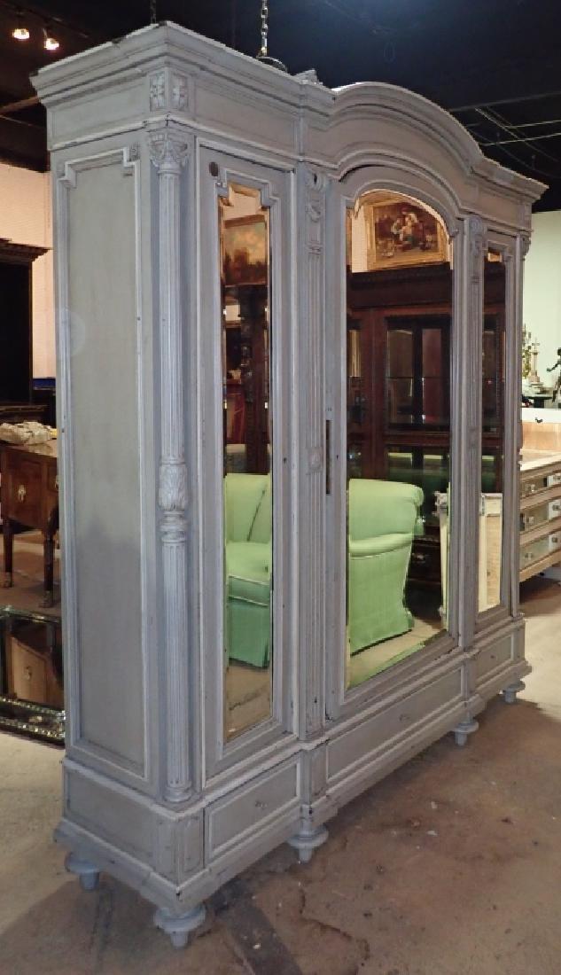 Louis XVI Style Three-Door Painted Armoire - 2