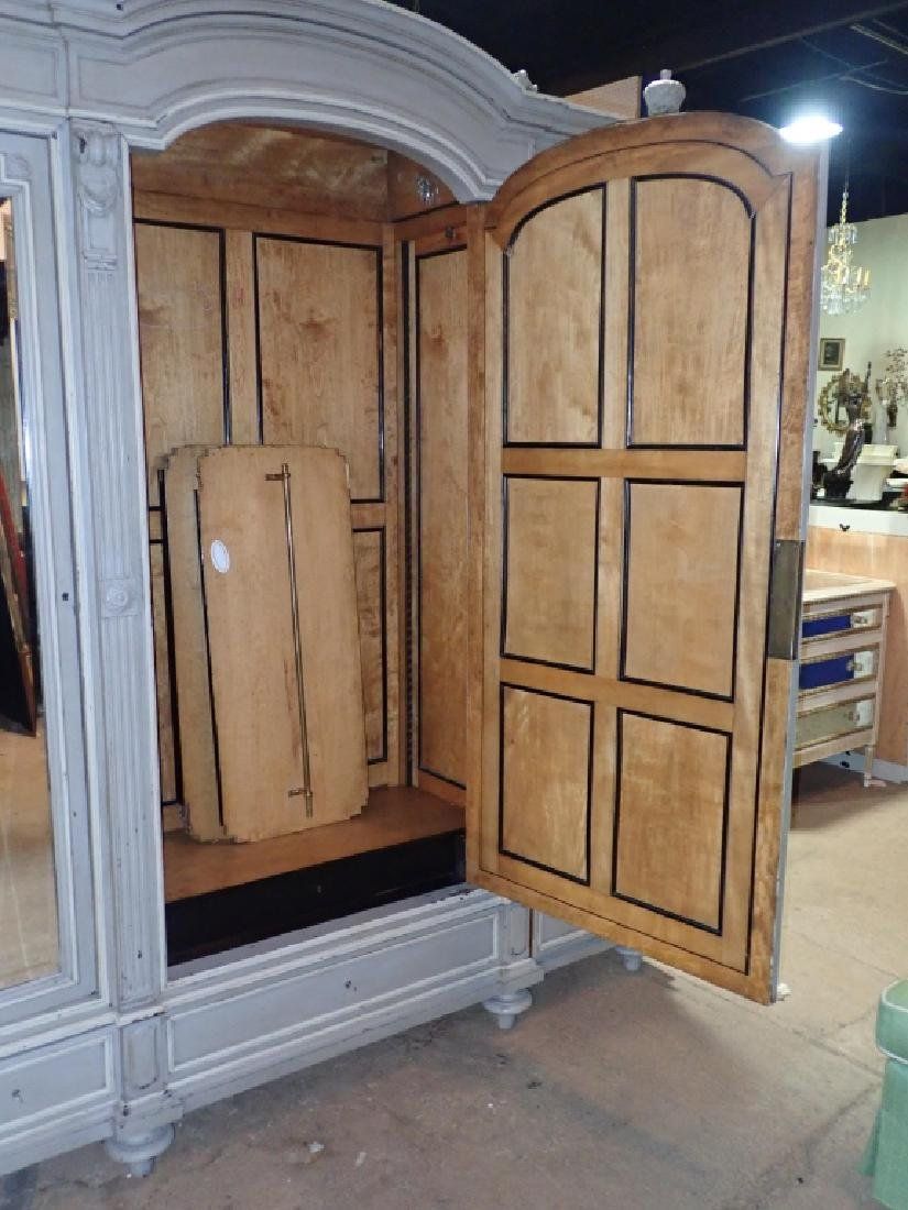 Louis XVI Style Three-Door Painted Armoire - 9