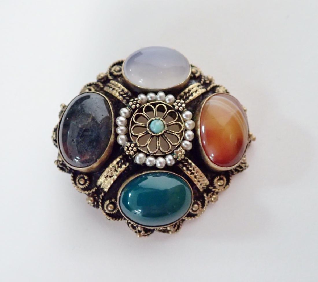 Vintage Gilt Sterling & Stone Brooch / Pendant
