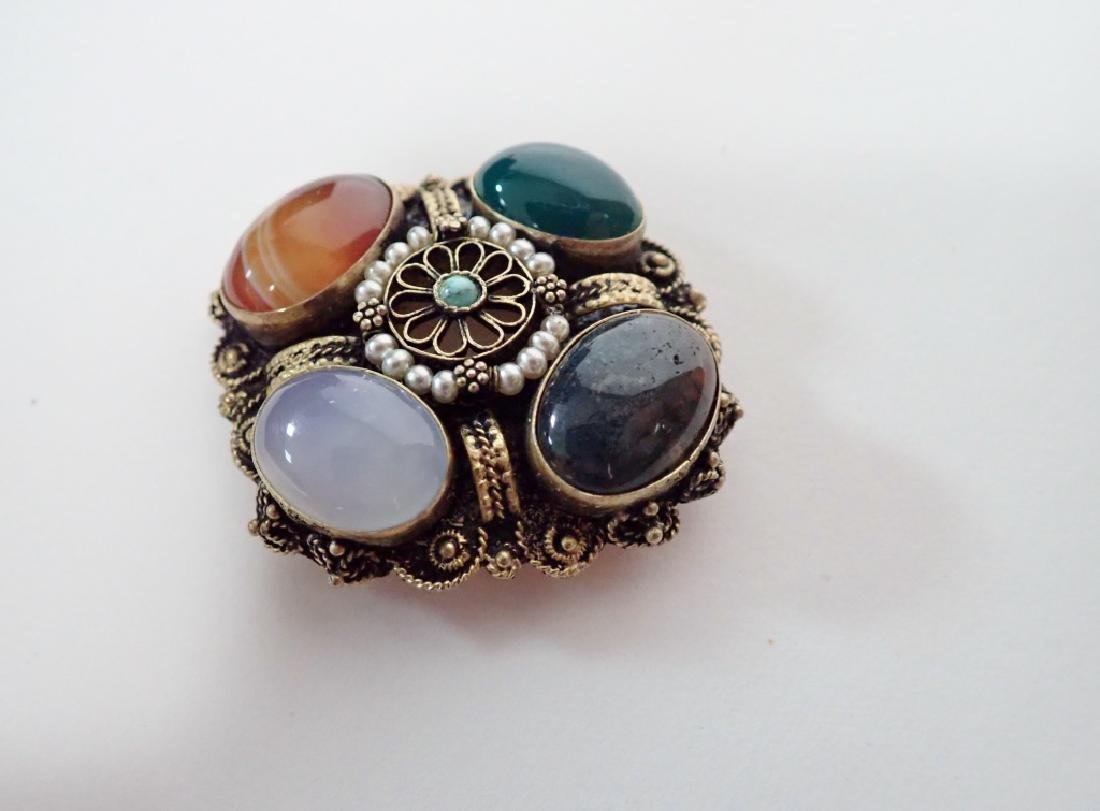 Vintage Gilt Sterling & Stone Brooch / Pendant - 5