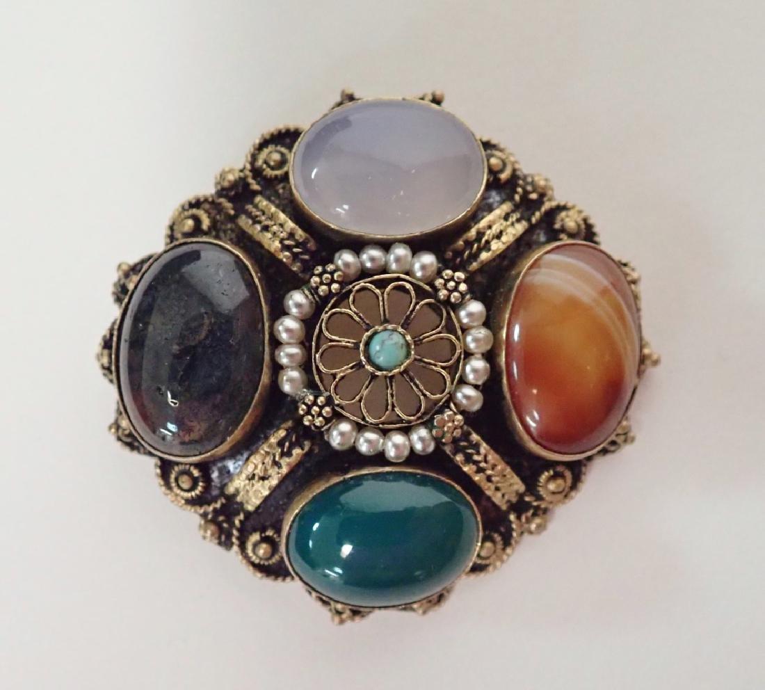 Vintage Gilt Sterling & Stone Brooch / Pendant - 6
