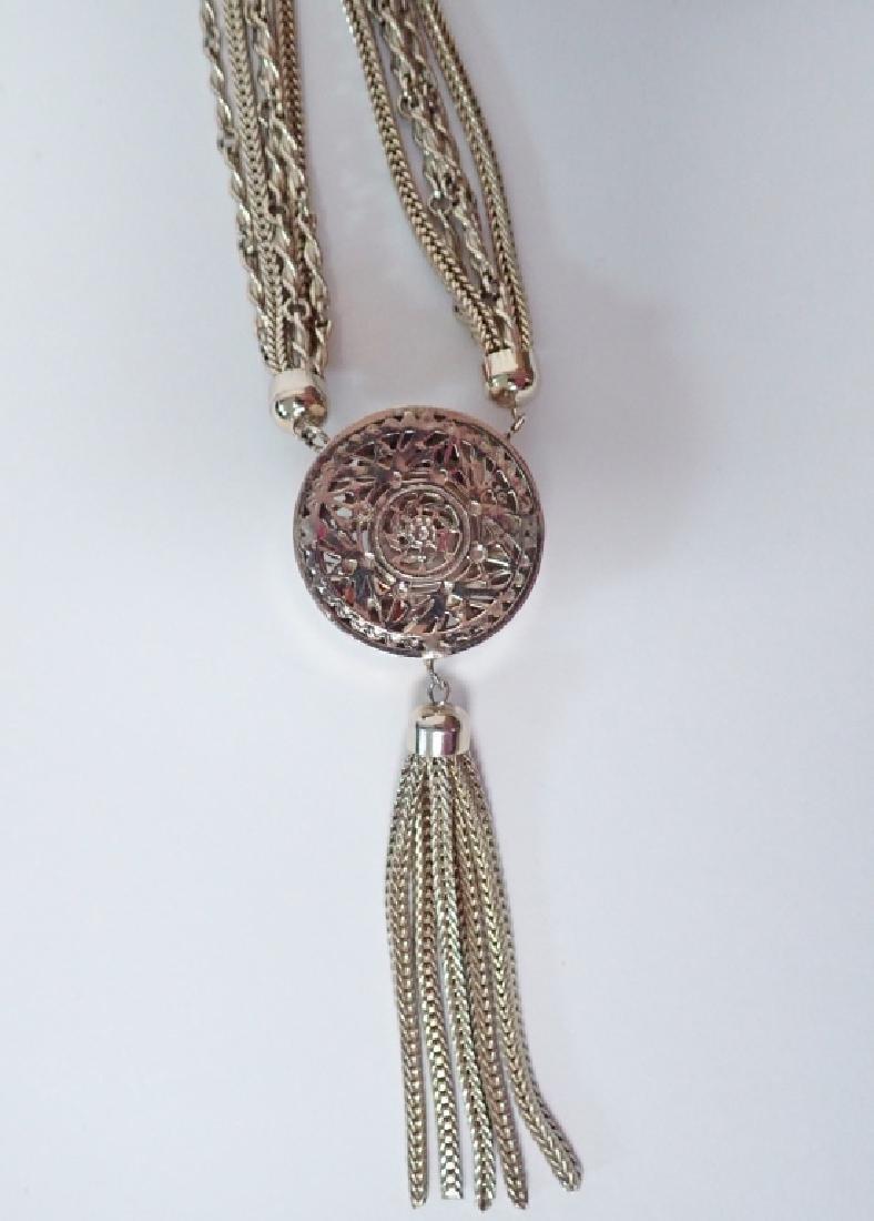 Vintage Multi-Chain Necklace w Drop Pendant - 10