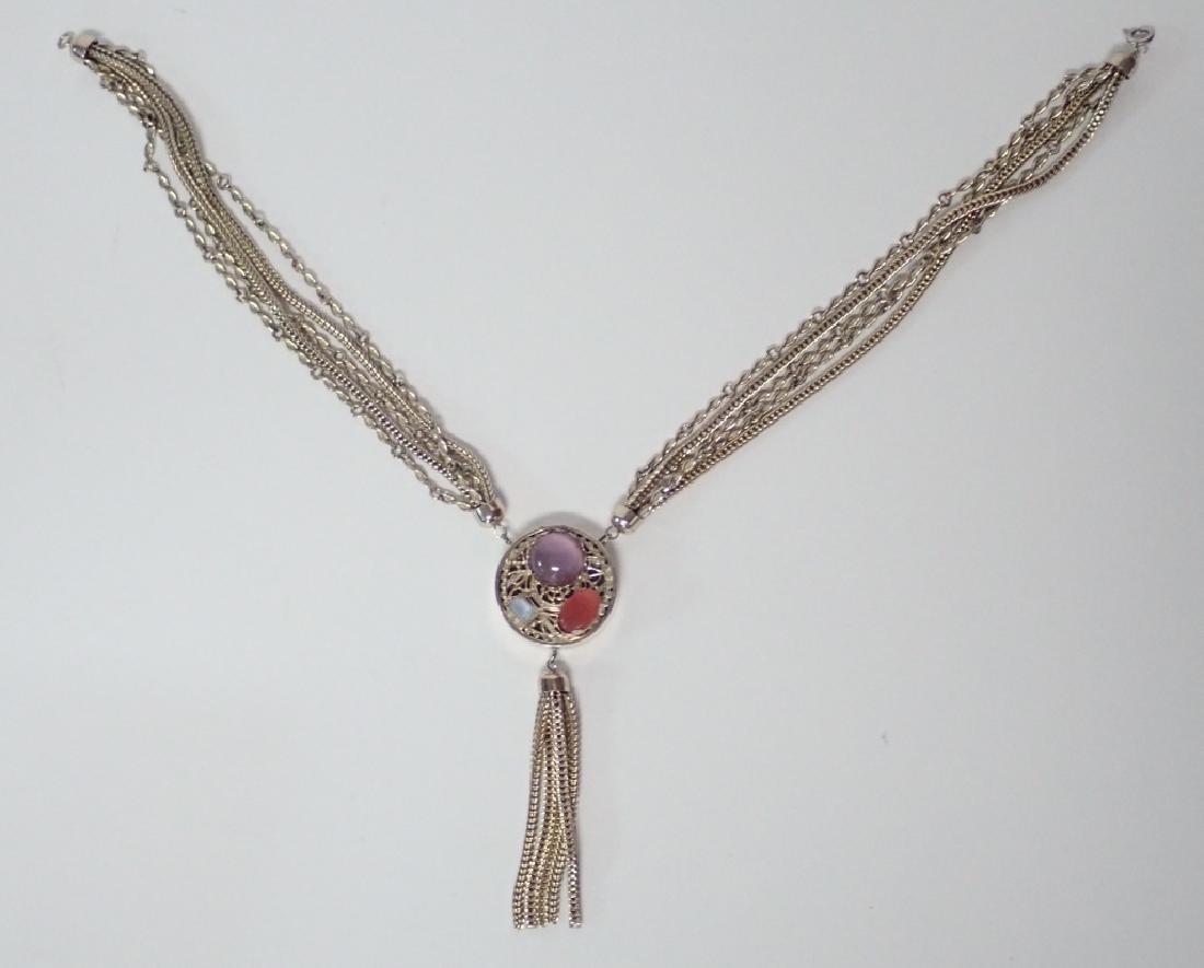 Vintage Multi-Chain Necklace w Drop Pendant