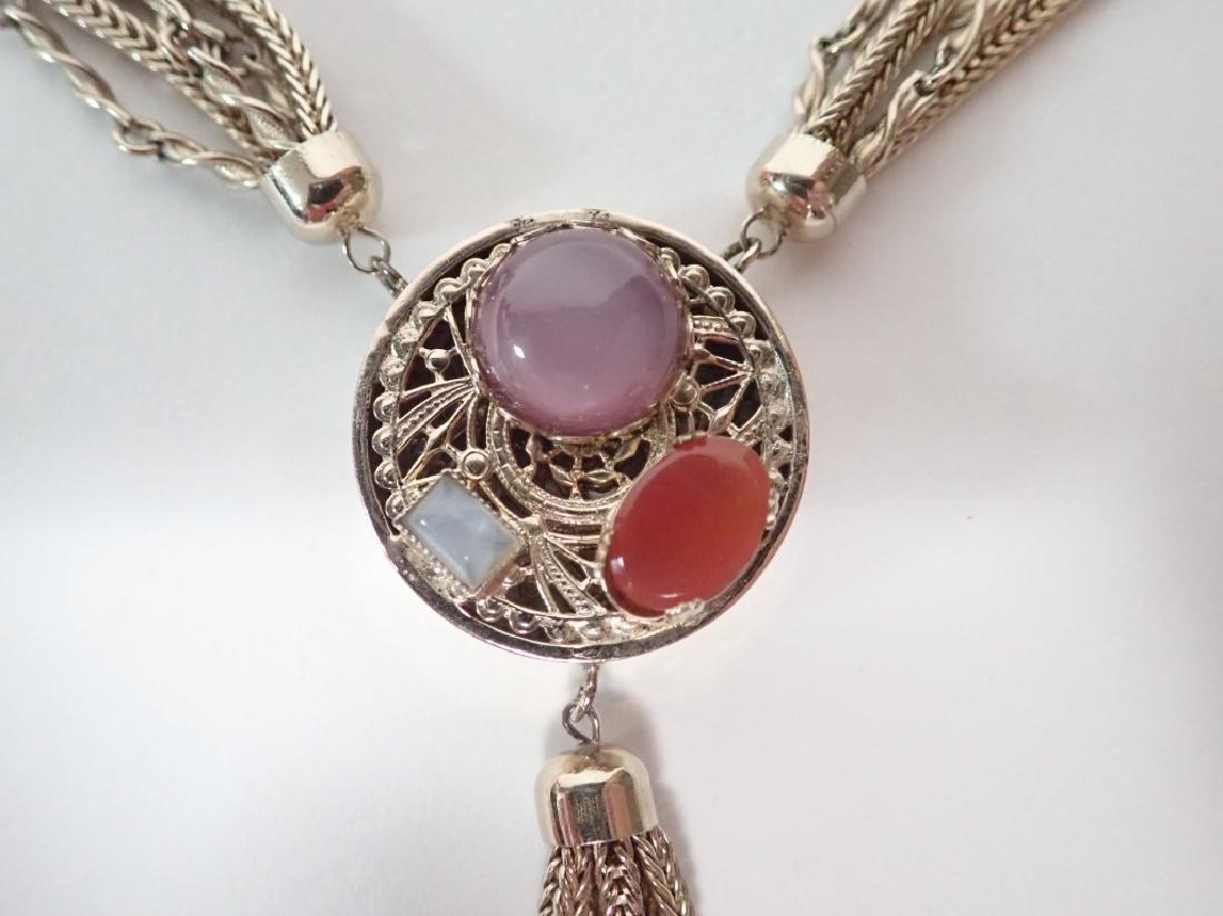 Vintage Multi-Chain Necklace w Drop Pendant - 2