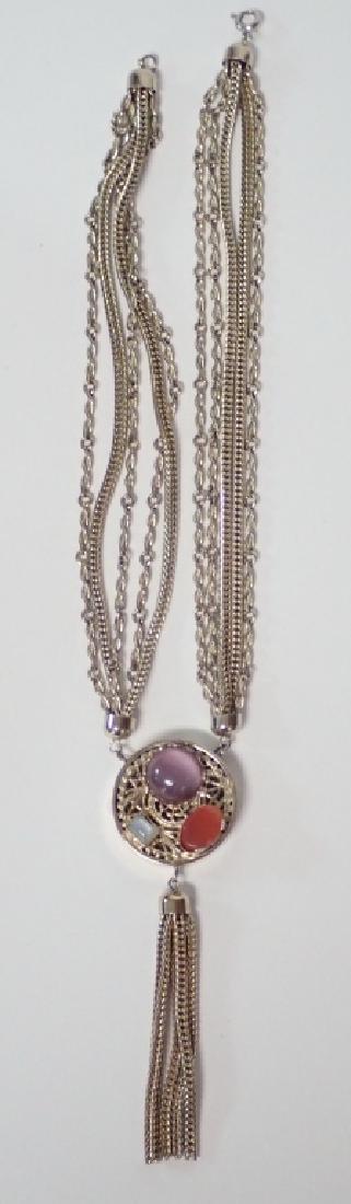 Vintage Multi-Chain Necklace w Drop Pendant - 3