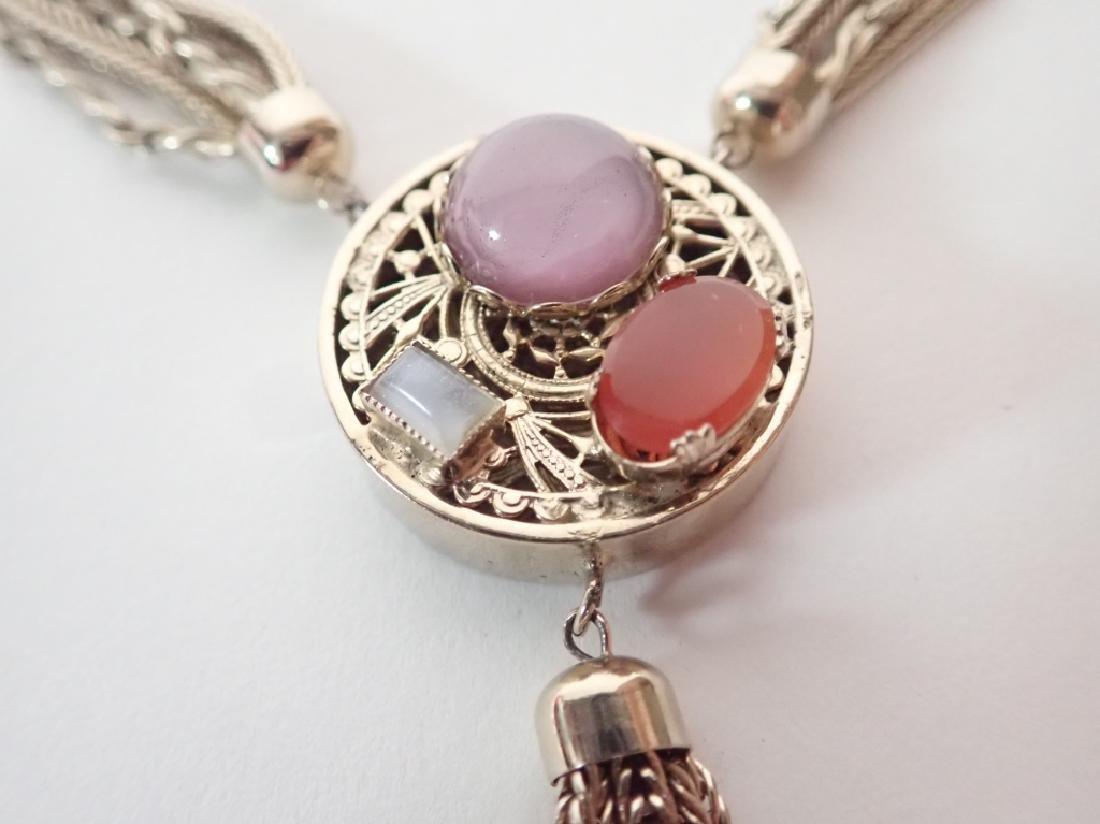 Vintage Multi-Chain Necklace w Drop Pendant - 4