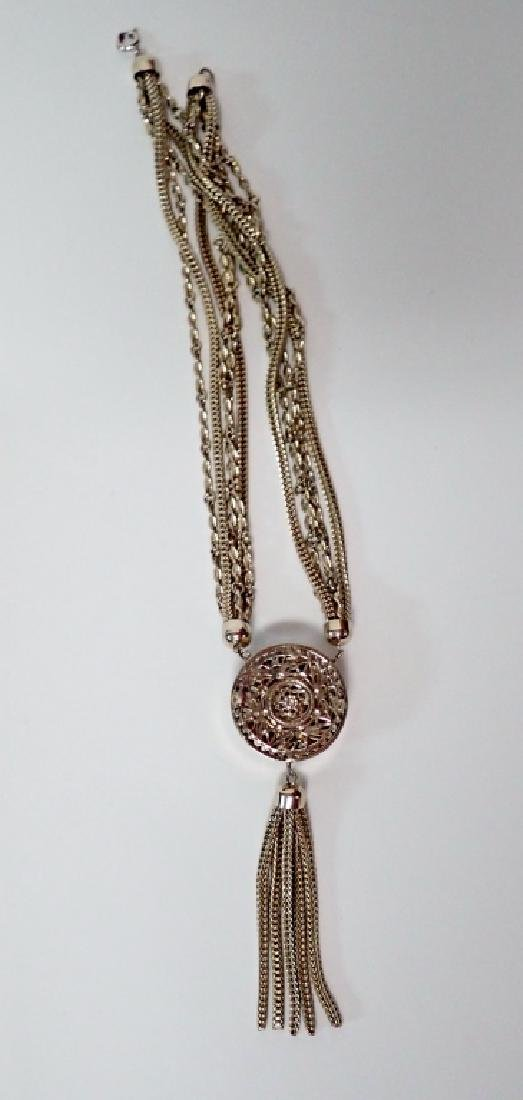 Vintage Multi-Chain Necklace w Drop Pendant - 5