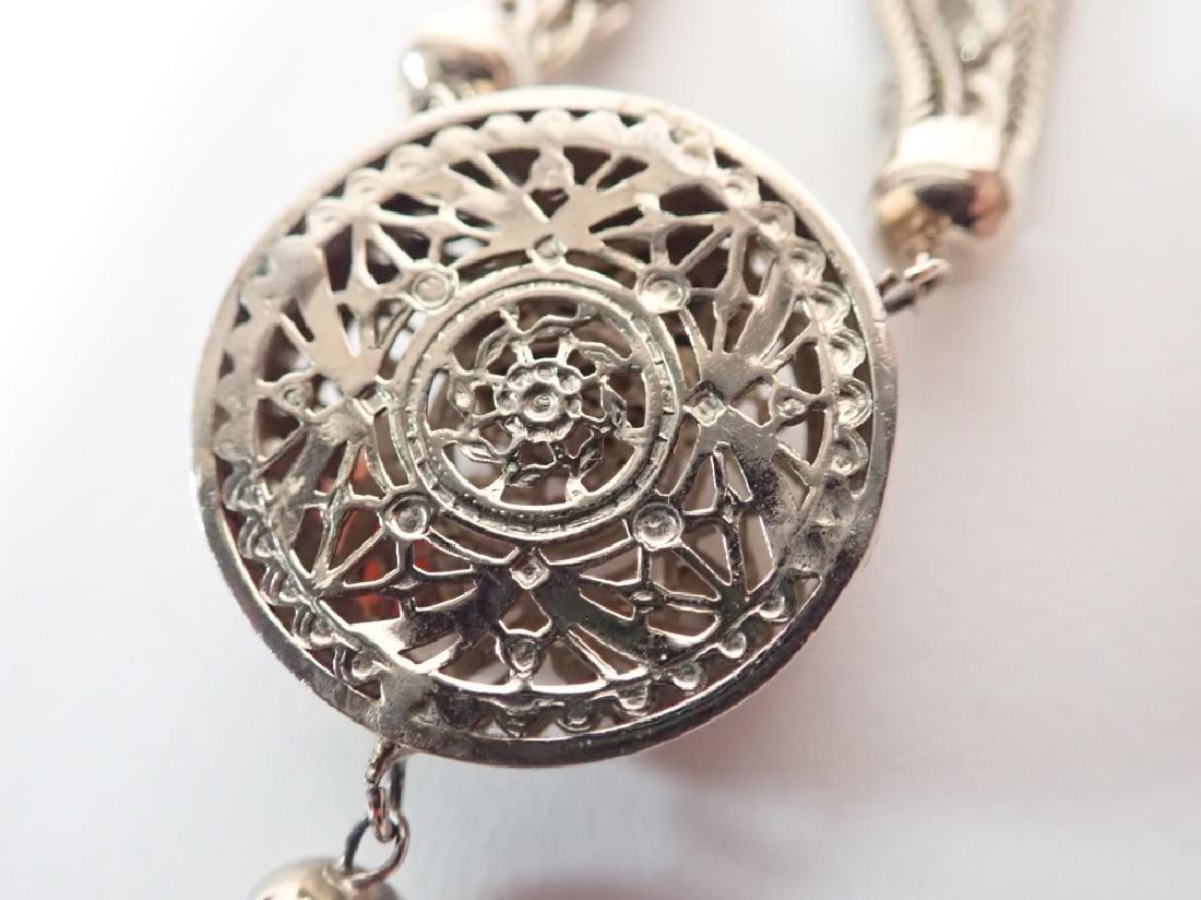 Vintage Multi-Chain Necklace w Drop Pendant - 6