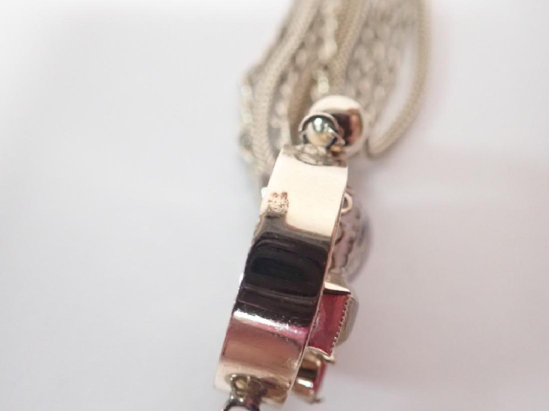 Vintage Multi-Chain Necklace w Drop Pendant - 7