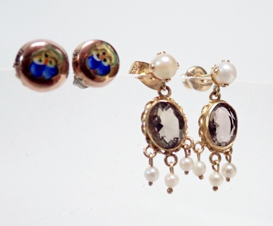 2 Pairs of Gold Post Earrings