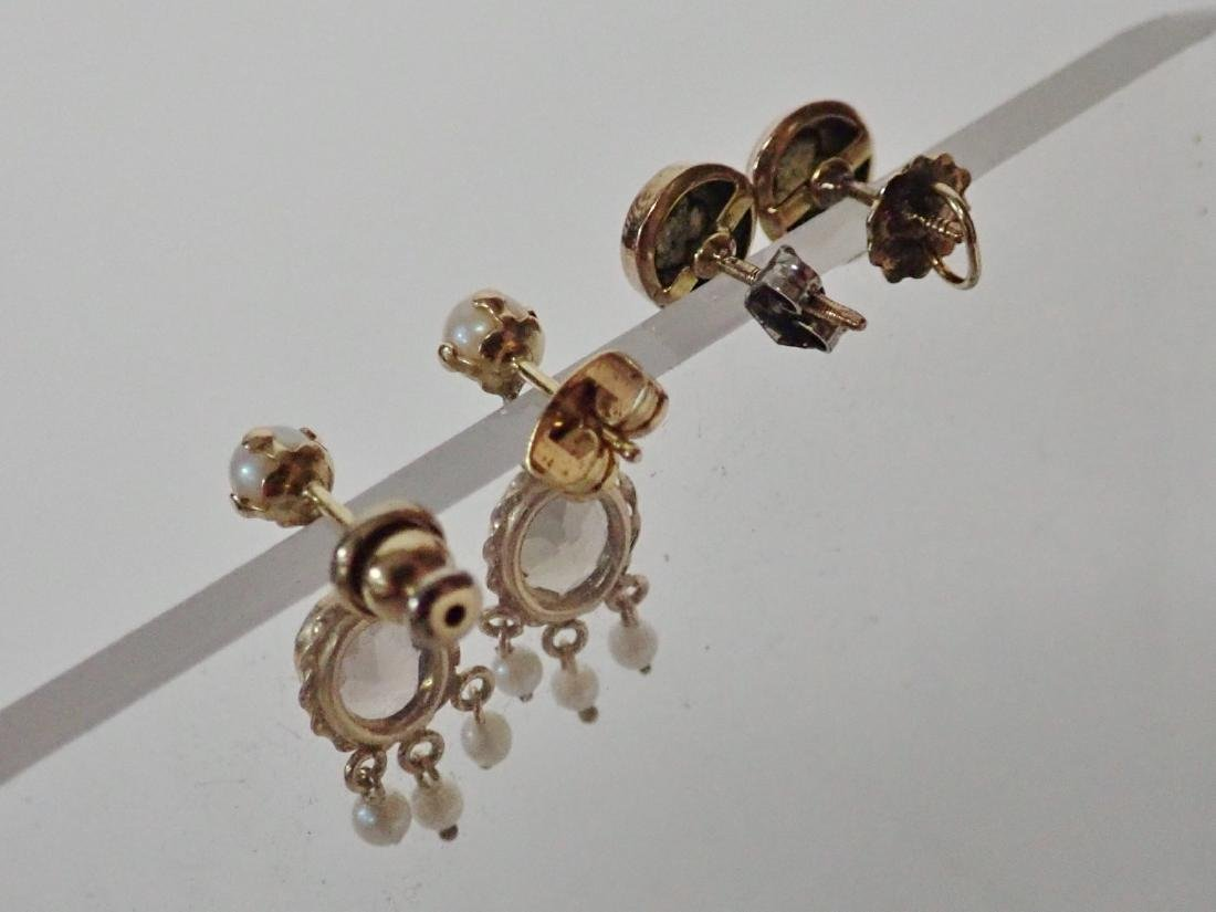 2 Pairs of Gold Post Earrings - 4