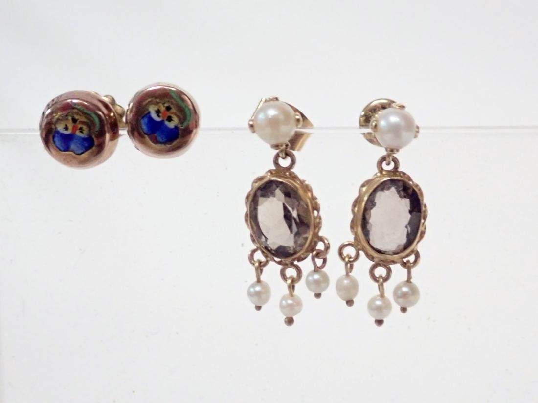 2 Pairs of Gold Post Earrings - 5
