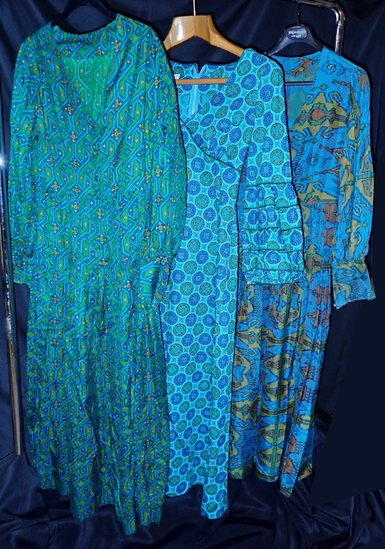 Three Vintage Dresses With Geometric Patterns