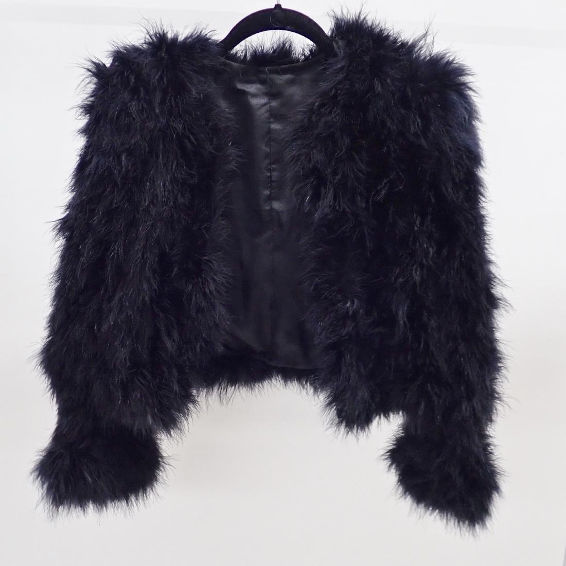 Vintage Black Ostrich Feather Jacket