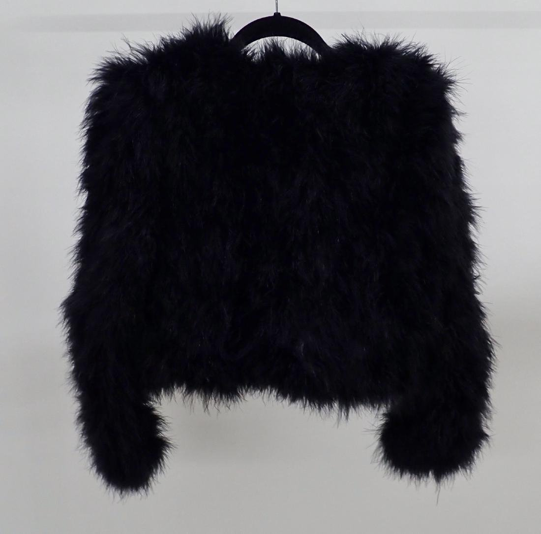 Vintage Black Ostrich Feather Jacket - 3