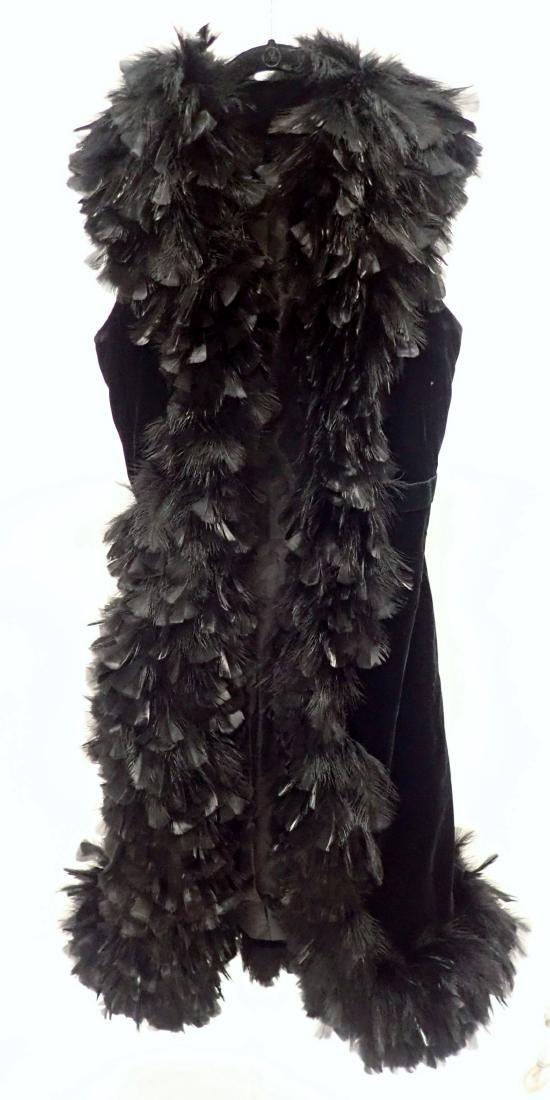 Vintage Black Feathered Sleeveless Jacket