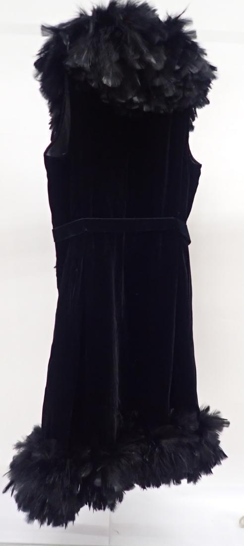 Vintage Black Feathered Sleeveless Jacket - 5