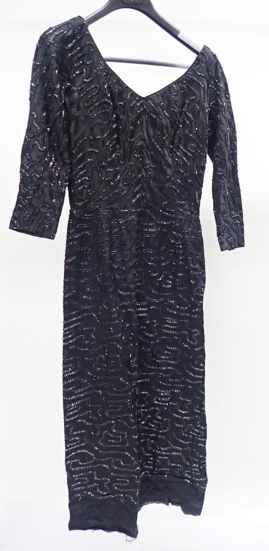 3 Vintage Black Beaded Dresses - 10
