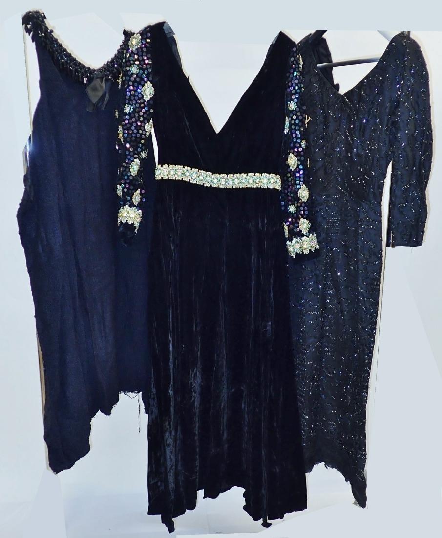 3 Vintage Black Beaded Dresses