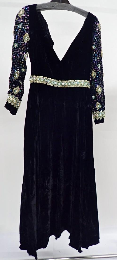 3 Vintage Black Beaded Dresses - 6