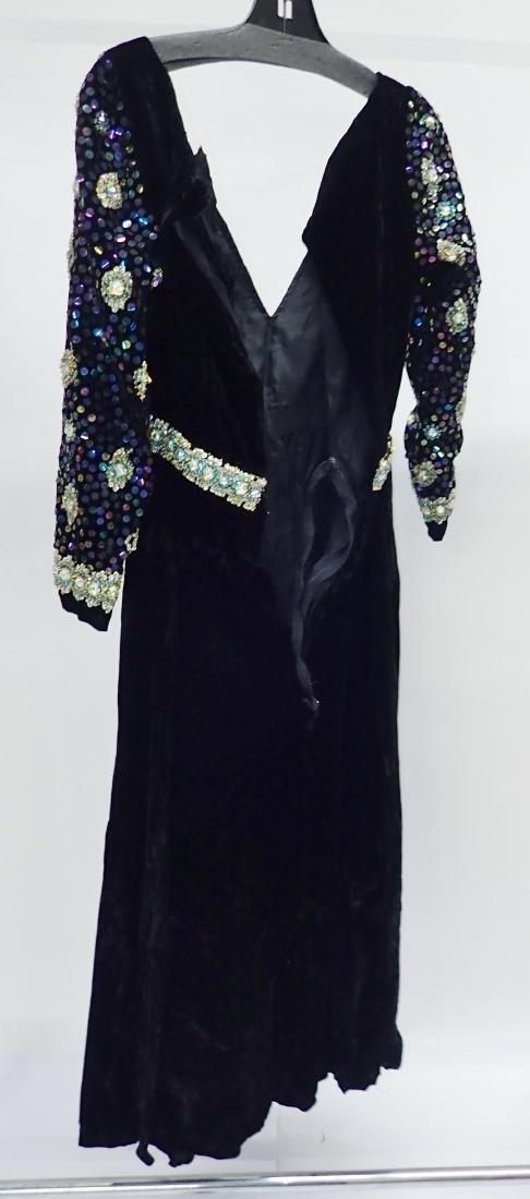3 Vintage Black Beaded Dresses - 7