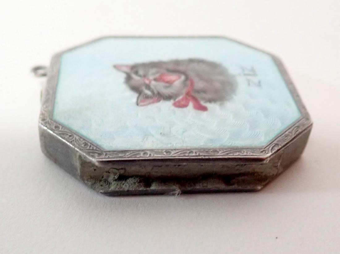 Silver & Enamel Antique Vesta Case w/ Cat Design - 10