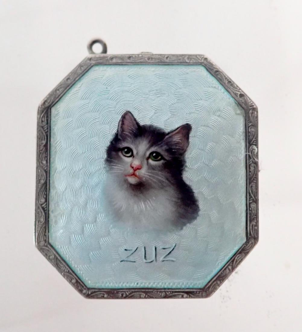 Silver & Enamel Antique Vesta Case w/ Cat Design