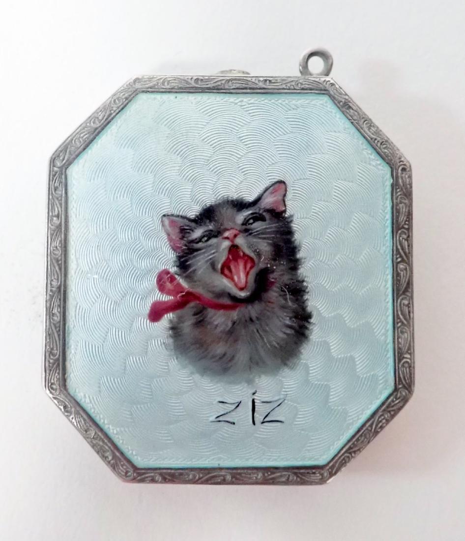 Silver & Enamel Antique Vesta Case w/ Cat Design - 2
