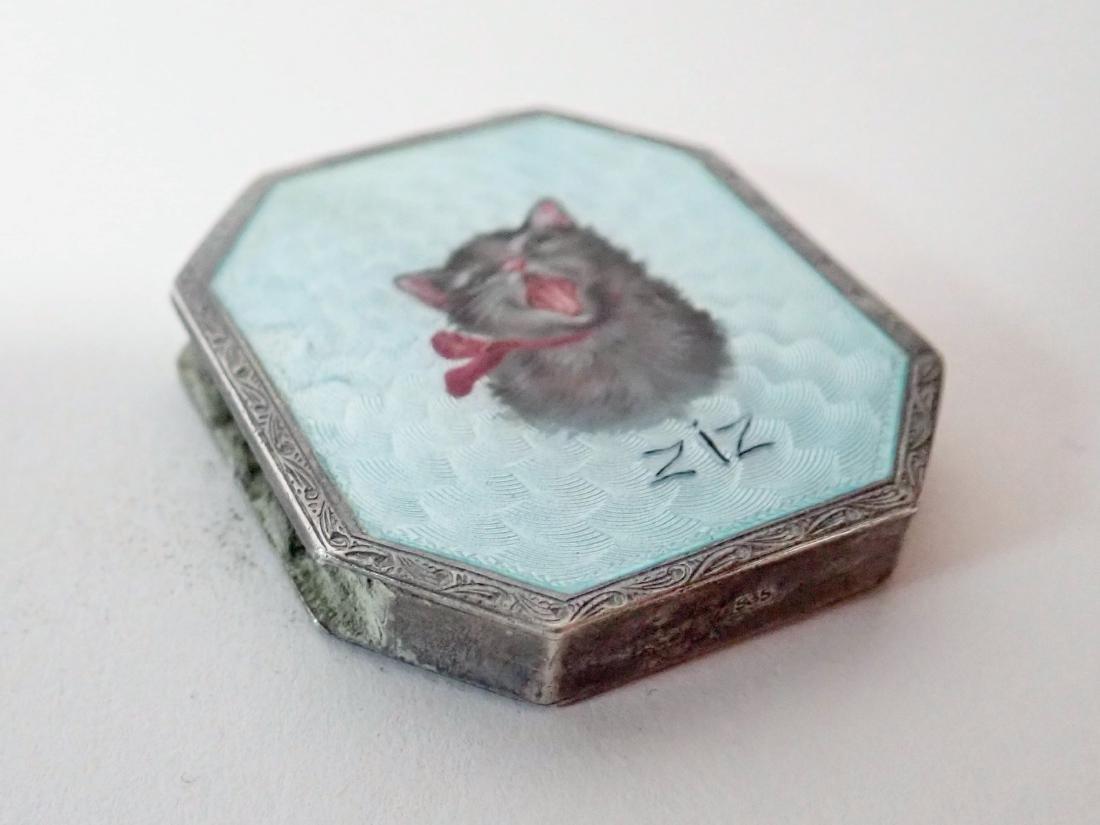Silver & Enamel Antique Vesta Case w/ Cat Design - 3