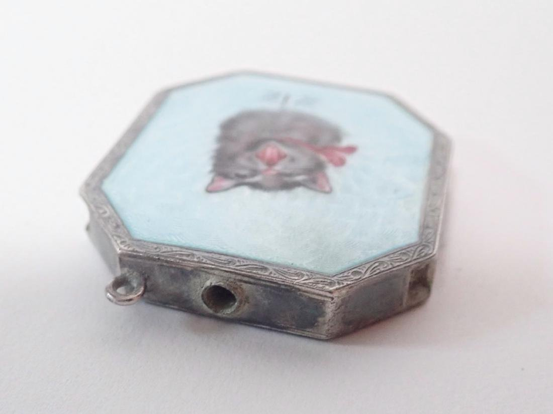 Silver & Enamel Antique Vesta Case w/ Cat Design - 4