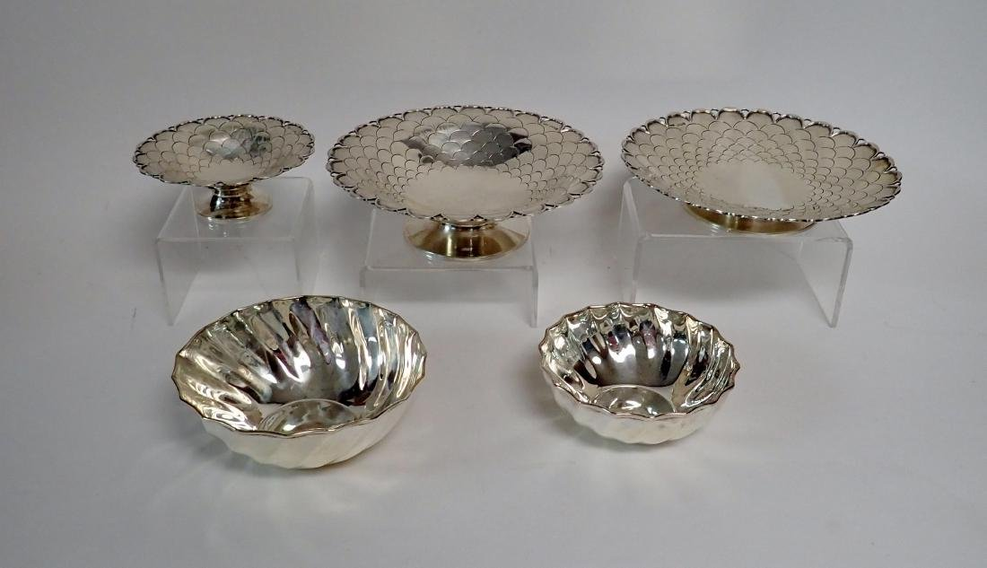 Collection of 5 Silver Bowls in Two Patterns