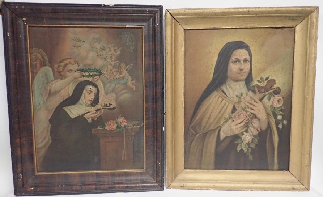 Vintage Pair of Framed Religious Scenes on Tin
