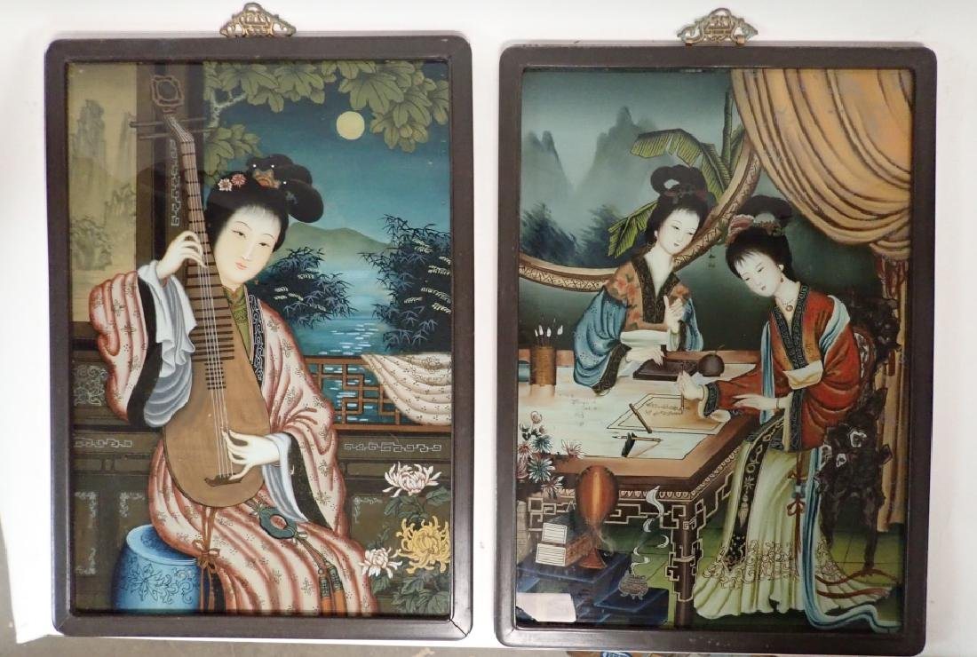 Pair of Asian Reverse Glass Figural Paintings