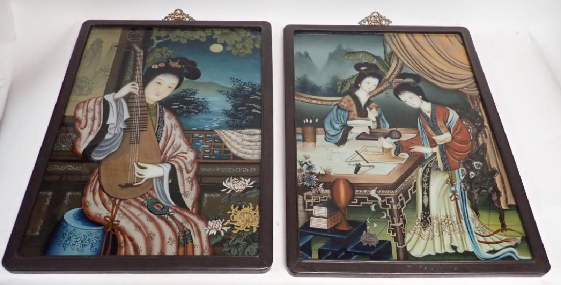 Pair of Asian Reverse Glass Figural Paintings - 2