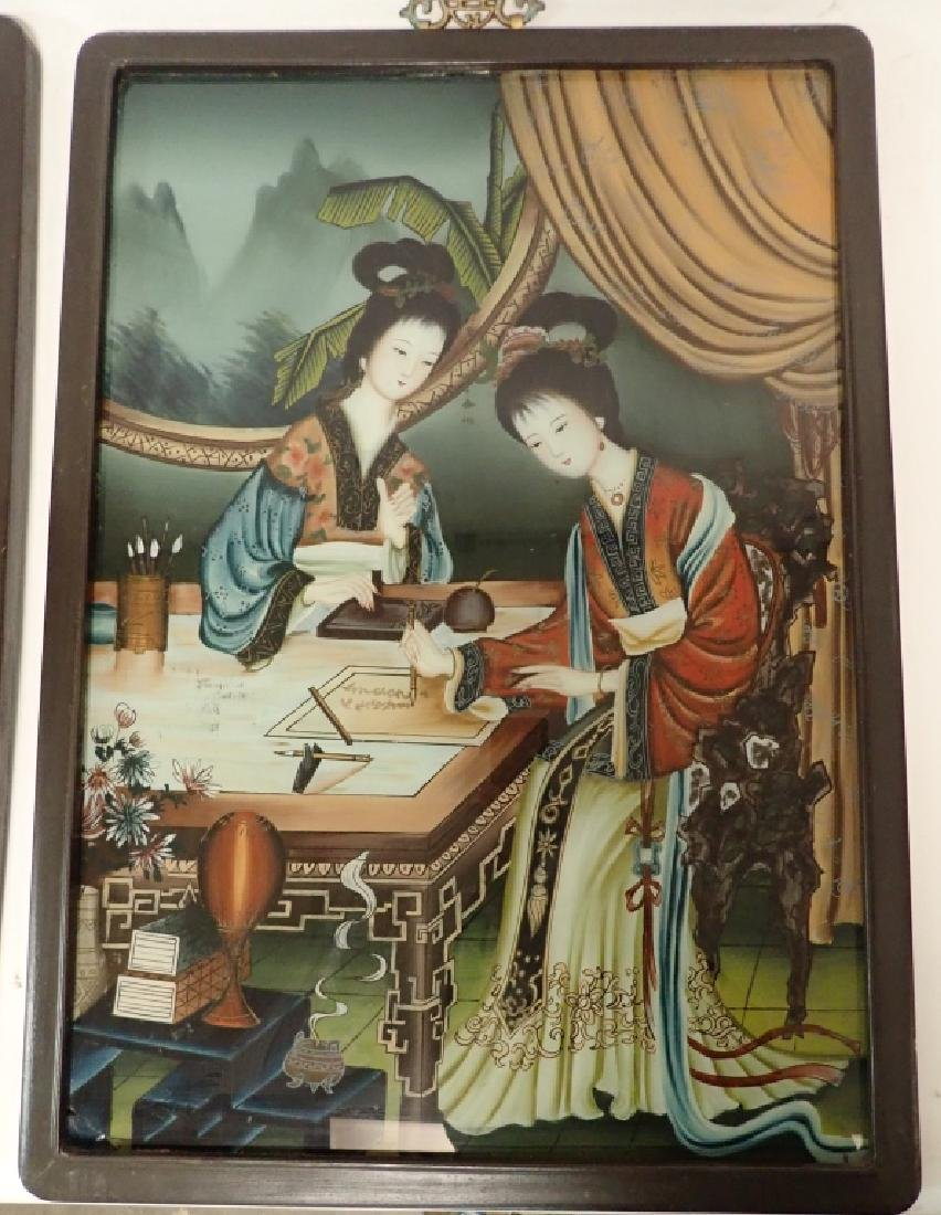 Pair of Asian Reverse Glass Figural Paintings - 3