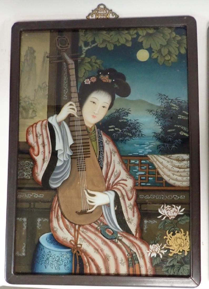 Pair of Asian Reverse Glass Figural Paintings - 4