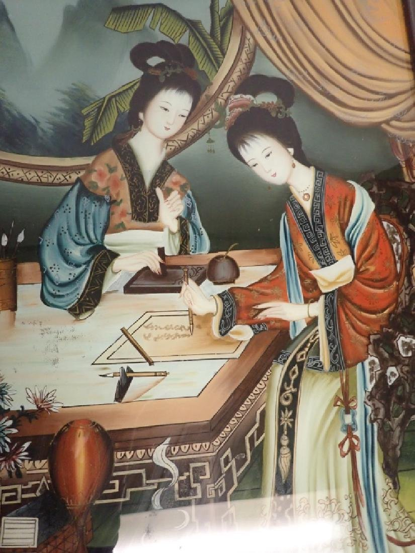 Pair of Asian Reverse Glass Figural Paintings - 6