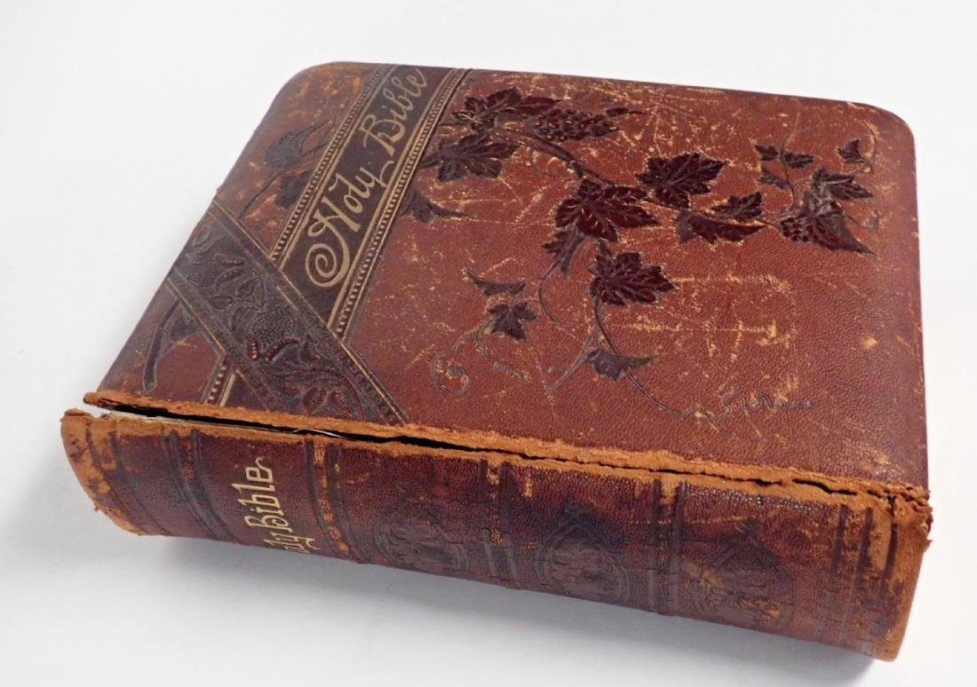 Vintage Leather Bound Bible Gilded Pages - 5