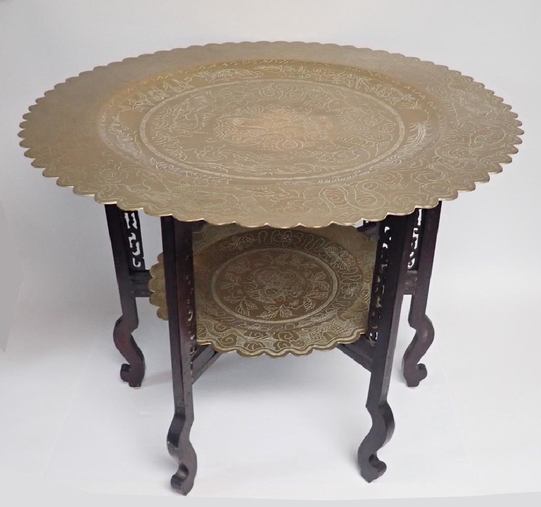 Antique Chinese Brass Two-Tier Table