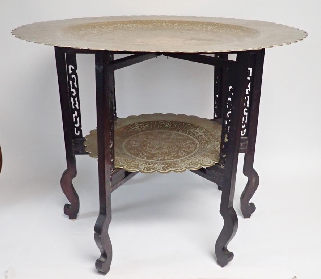 Antique Chinese Brass Two-Tier Table - 2